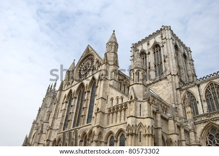 The South Side of York Minster showing Towers and Rose Window
