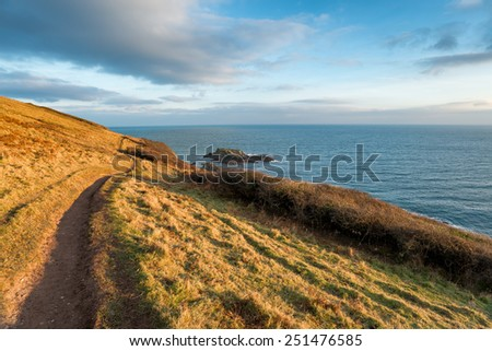 The South West Coast Path as it leaves Talland Bay in Cornwall and heading towards Looe