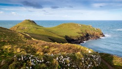 The South West Coast path at The Rumps Point near Polzeath Cornwall England UK Europe