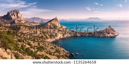 The southern coast of the Crimea in winter. New world (Novy Svet). Panorama. Crimea. Eastern Europe Stock foto ©