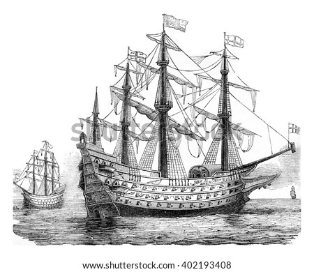 The Sovereign of the Seas, English vessel, 1650, vintage engraved illustration. Colorful History of England, 1837.