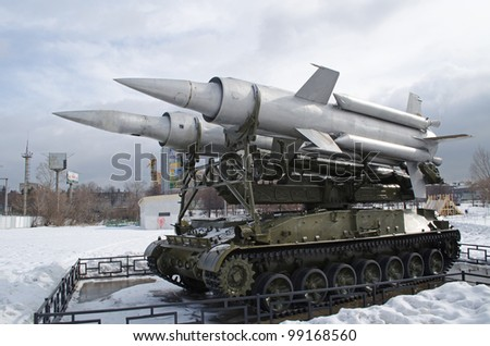 The Soviet surface-to-air direct-flow propulsion missile system 2K11 Krug-A  (1967) (NATO SA-4) in Khimki town, Russia.