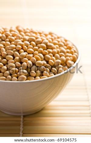 the soya beans in ceramic bowl