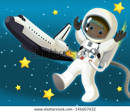 The space journey - happy and funny mood - illustration for the children, XXL large file