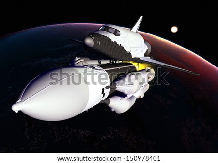 The space ship in outer space \