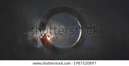The spacecraft passes by a ring-shaped mysterious celestial body, 3D illustration