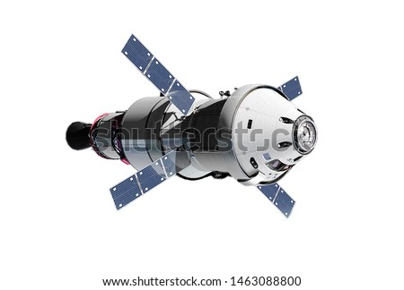 The spaceship module, with solar batteries, isolated on a white background. Elements of this image were furnished by NASA
