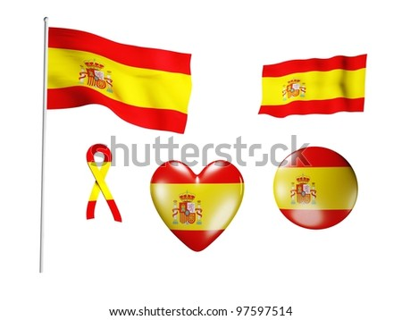 The Spain flag - set of icons and flags on white background