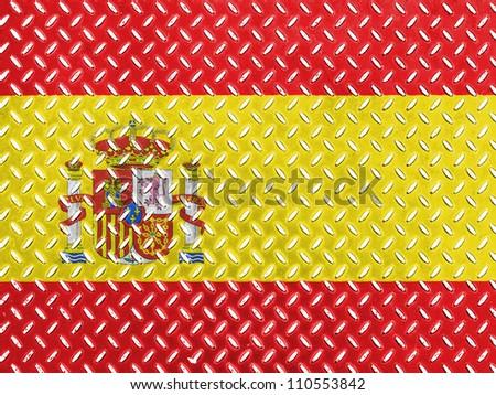 The Spanish flag painted on  metal floor
