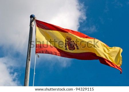 The spanish flag waving in a summer day