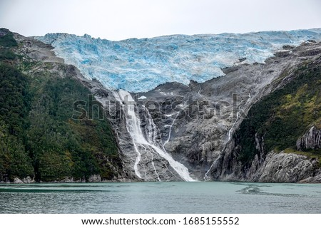 The Spanish Glacier at the Avenue of the Glaciers or Glacier Alley in the Beagle Channel, Patagonia stock photo