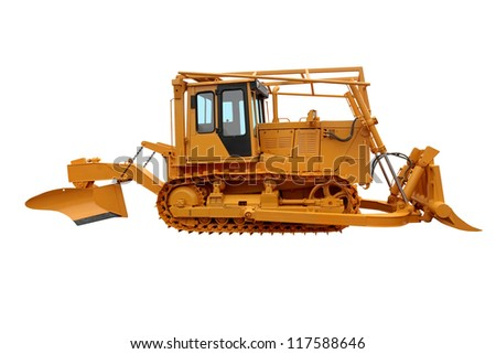 The special bulldozer with a plow for work on forest fires