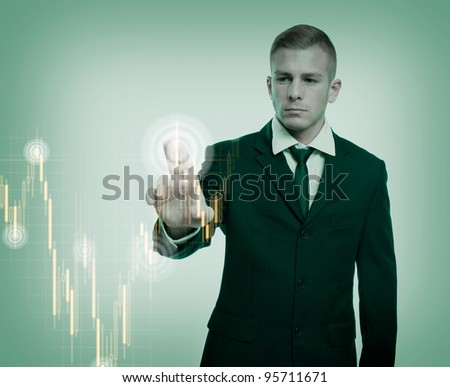 The specialist, colorful currency trading concept with graph and businessman.