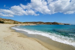 The spectacular bay with Manganari beach on the south coast of the Greek island of Ios in the Cyclades archipelago