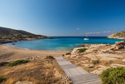 The spectacular bay with the beach of Pikri Nero on the west coast of the Greek island of Ios in the Cyclades archipelago