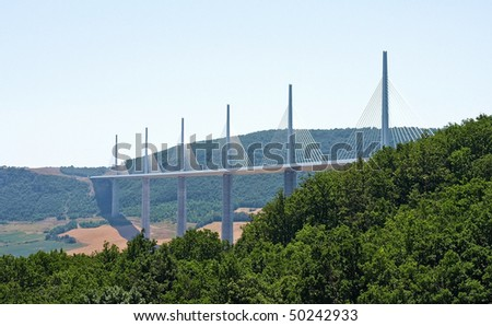 The spectacular Millau Viaduct bridge in France - stock photo