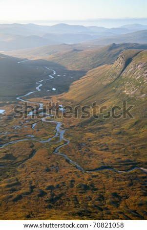 The spectacular view from the devils point in the Cairngorm mountains of Scotland.