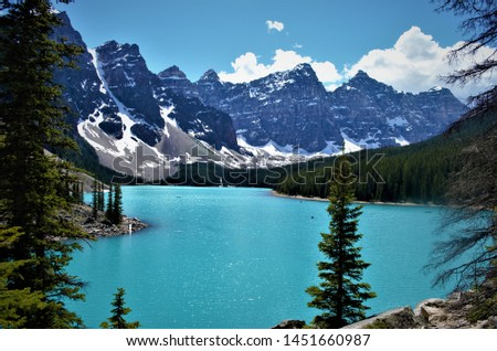 The spectacular views of mountains, lakes and trails of the Canadian Rockies in Banff National Park in Alberta, Canada draws hikers from around the world to come for adventure travel. #1451660987