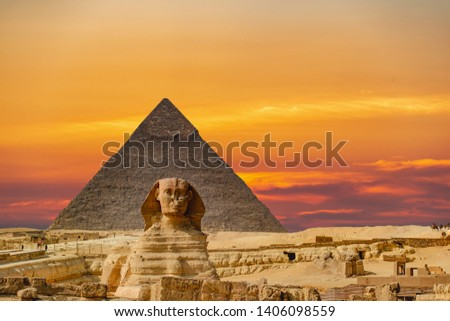 The Sphinx and Pyramid in Cairo,Egypt