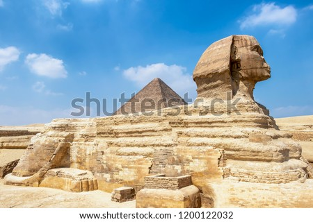 The Sphinx and Pyramid of Khafre, Cairo, Egypt #1200122032