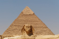 The Sphinx and the great Pyramid, Giza, Egypt. No people.