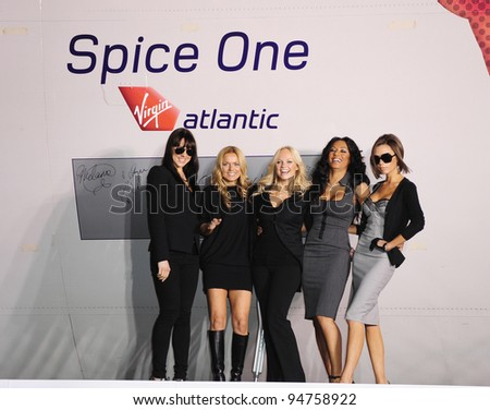 "The Spice Girls at Los Angeles International Airport where they named a Virgin Atlantic 747 ""Spice One"". December 12, 2007  Los Angeles, CA Picture: Paul Smith / Featureflash - stock photo"