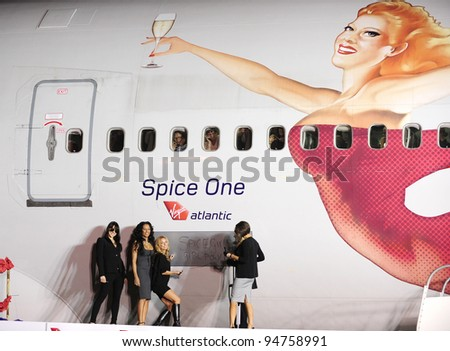 "The Spice Girls at Los Angeles International Airport where they named a Virgin Atlantic 747 ""Spice One"". December 12, 2007  Los Angeles, CA Picture: Paul Smith / Featureflash"