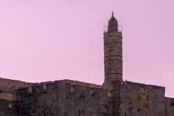 The spire on the ancient and famous Tower of David, in Jerusalem Israel.