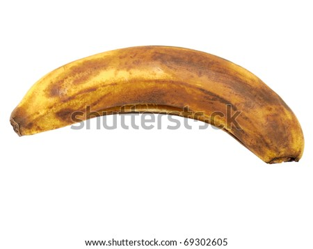 The spoiled banana on a white background