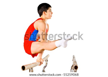 The sportsman the guy, carries out difficult exercise, sports gymnastics, on white background, isolated