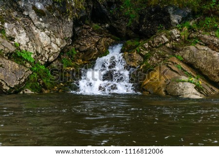 The spring follows a waterfall from the rock and flows into the river on a precipitous river bank #1116812006