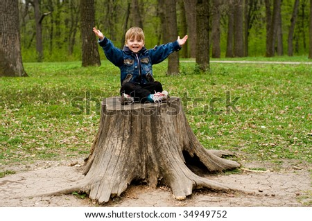 The spring, wood, the little boy sits on the stump