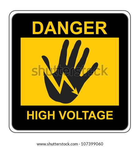 The Square Black and Yellow Danger High Voltage Sign Isolated on White Background