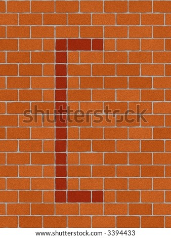 the square bracket sign on seamlessly brickwall tile - stock photo