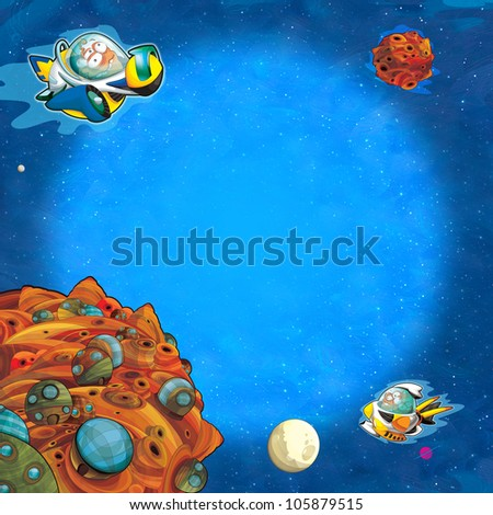 The square framing - aliens subject - ufo - for kids - kindergarten - menu - screen - space for text - happy and funny mood part 1