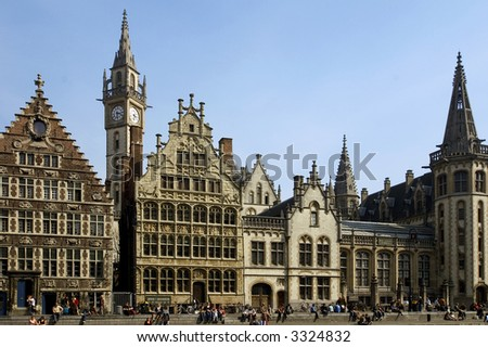 The square of the old medieval houses an clock tower perfect view of the old europe