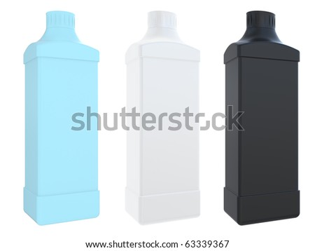 The square plastic bottle with a cover is isolated on a white background