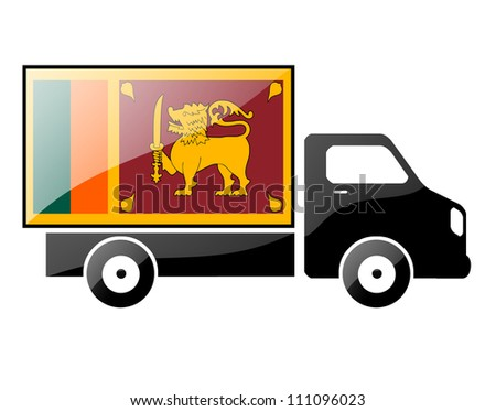 The Sri Lanka flag painted on the silhouette of a truck. glossy illustration - stock photo