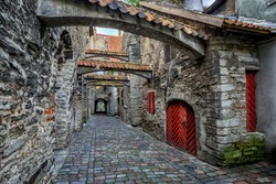 The St Catherine's Passage is historical cobbled street in the old town of Tallinn, Estonia