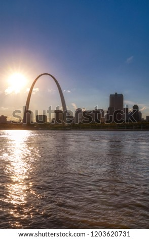The St. Louis, Missouri skyline across the Mississippi River.