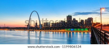 The St. Louis, Missouri skyline and Gateway Arch from Eads Bridge. #1199806534