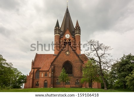The St.Pauls Church in Halle, a protestant church with a brick gothic architecture.