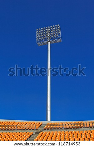 The Stadium Spot-light tower over Blue Sky, Nakhonratchasima, Thailand.