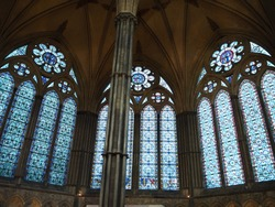 The stained windows of Salisbury Cathedral was beautiful in Salisbury,England.