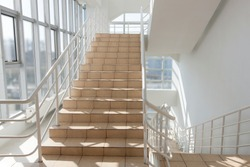 The staircase - emergency exit in hotel, close-up staircase, interior staircases, interior staircases hotel, Staircase in modern house, staircase in modern building