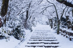 The stairs where snow is piled up