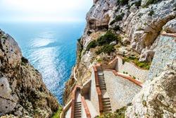 The stairway leading to the Neptune's Grotto, in Capo Caccia cliffs, near Alghero, in Sardinia, Italy