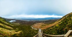 The Stairway to Heaven walk in Co Fermanagh from the top of Cuilcagh Moutain Park