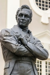 The Stamford Raffles statue in front of the Victoria Memorial Hall and Theatre, sculpted by Thomas Woolner, is a popular icon of Singapore.  The statue survived World War II unscathed