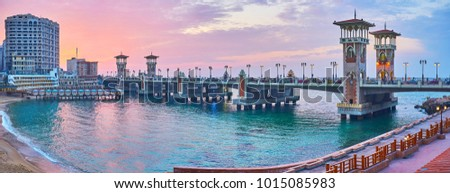 The Stanley bridge is the main landmark of the same named neighborhood, famous for its scenic sand beach, especially beautiful on sunset, Alexandria, Egypt. #1015085983